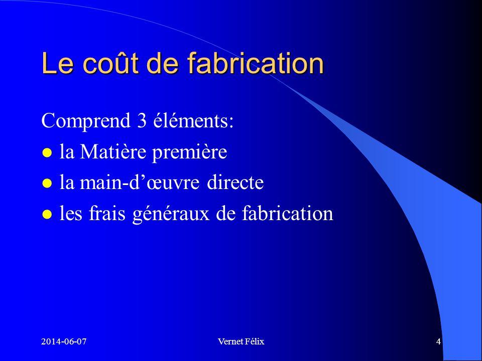 2014-06-07Vernet Félix5 Matière première (m.p) Définition l Tout élément qui fait partie intégrante du produit fini et qui est de nature non négligeable l Exemple: