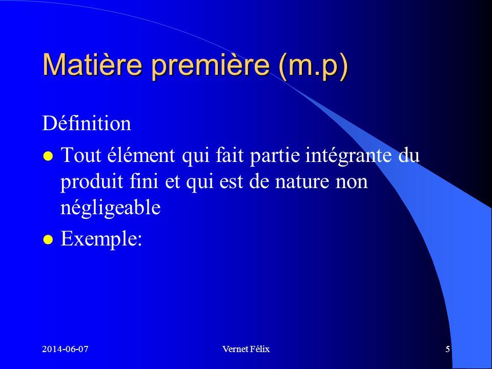 2014-06-07Vernet Félix6 La main-d œuvre directe (m.o.d) l C est le travail qui altère directement les matières premières pour aboutir au produit fini.