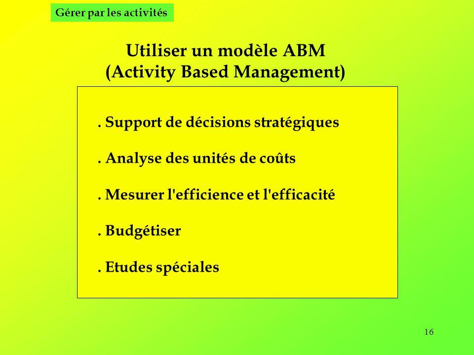 16 Utiliser un modèle ABM (Activity Based Management).