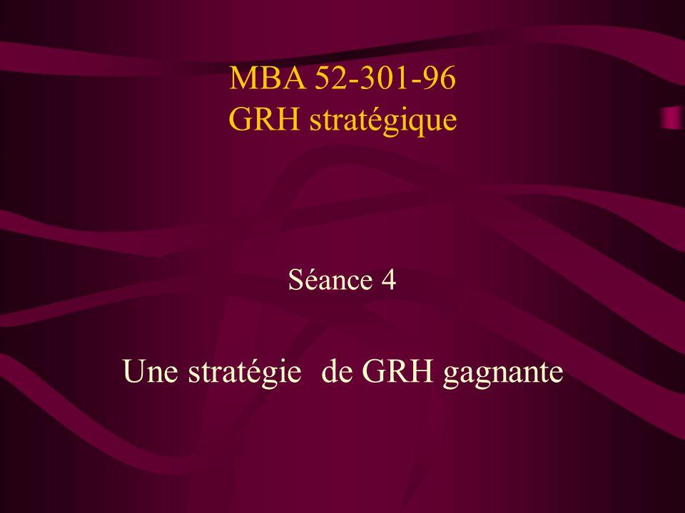 MBA 52-301-96 GRH stratégique Séance 4 Une stratégie de GRH gagnante