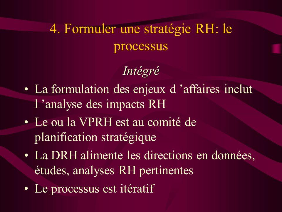 4. Formuler une stratégie RH: le processus Intégré La formulation des enjeux d affaires inclut l analyse des impacts RH Le ou la VPRH est au comité de