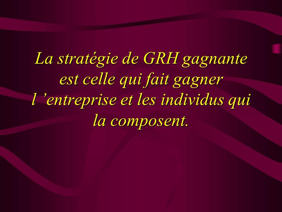 La stratégie de GRH gagnante est celle qui fait gagner l entreprise et les individus qui la composent.