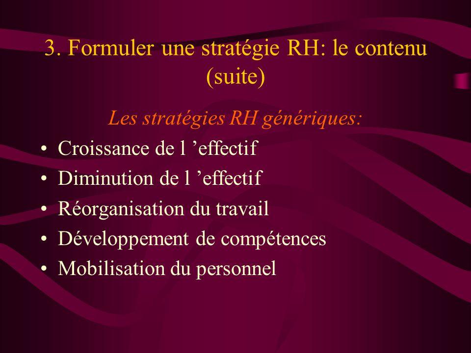 3. Formuler une stratégie RH: le contenu (suite) Les stratégies RH génériques: Croissance de l effectif Diminution de l effectif Réorganisation du tra