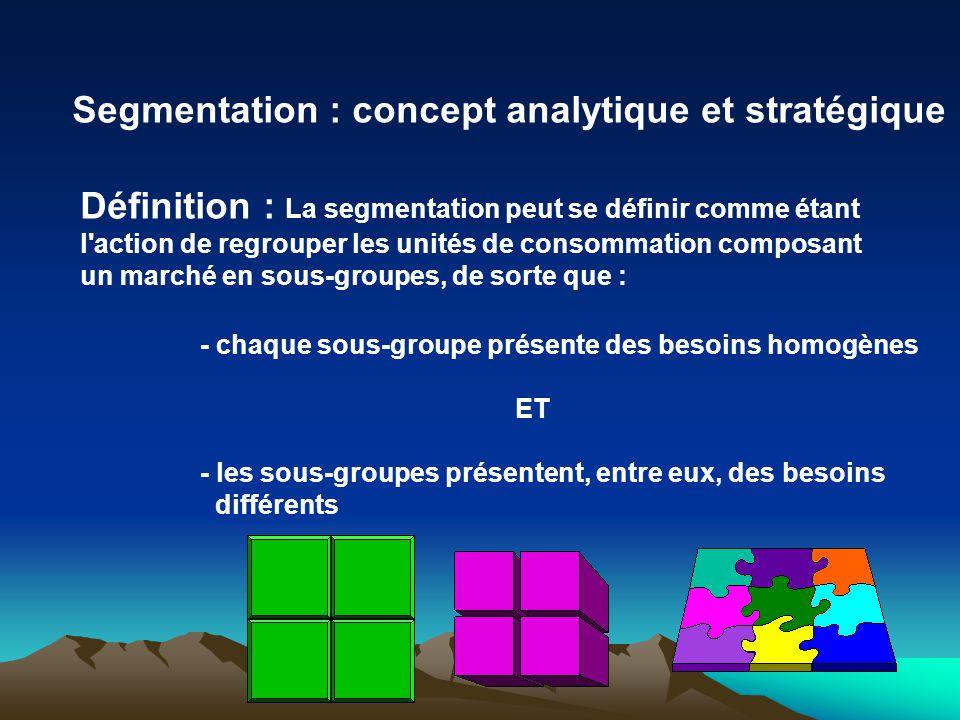 Segmentation : concept analytique et stratégique Définition : La segmentation peut se définir comme étant l action de regrouper les unités de consommation composant un marché en sous-groupes, de sorte que : - chaque sous-groupe présente des besoins homogènes ET - les sous-groupes présentent, entre eux, des besoins différents