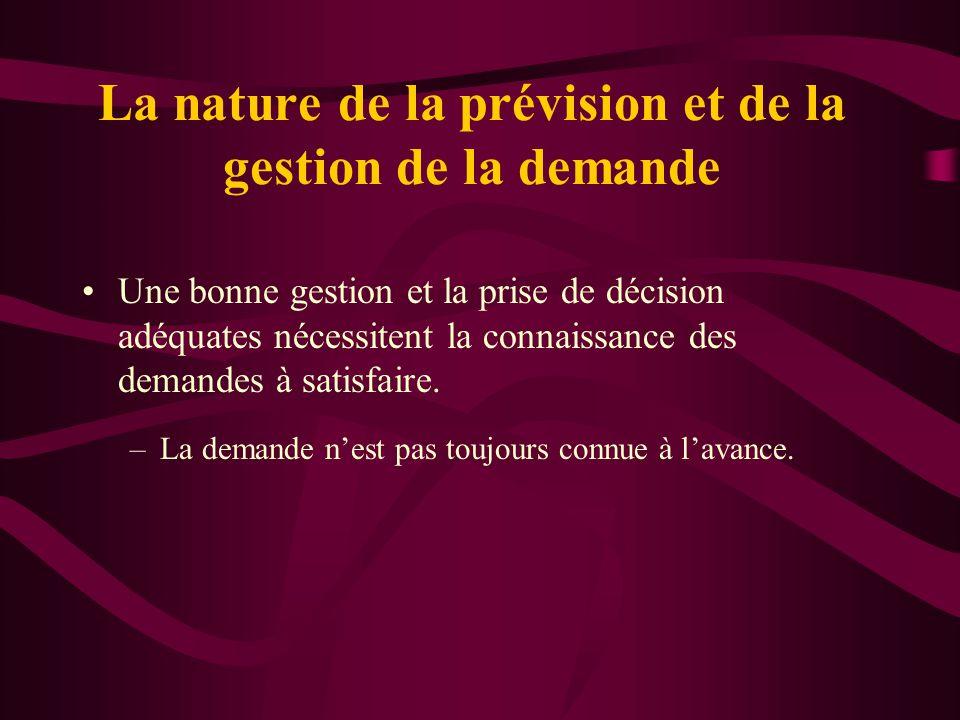 La nature de la prévision et de la gestion de la demande Une bonne gestion et la prise de décision adéquates nécessitent la connaissance des demandes
