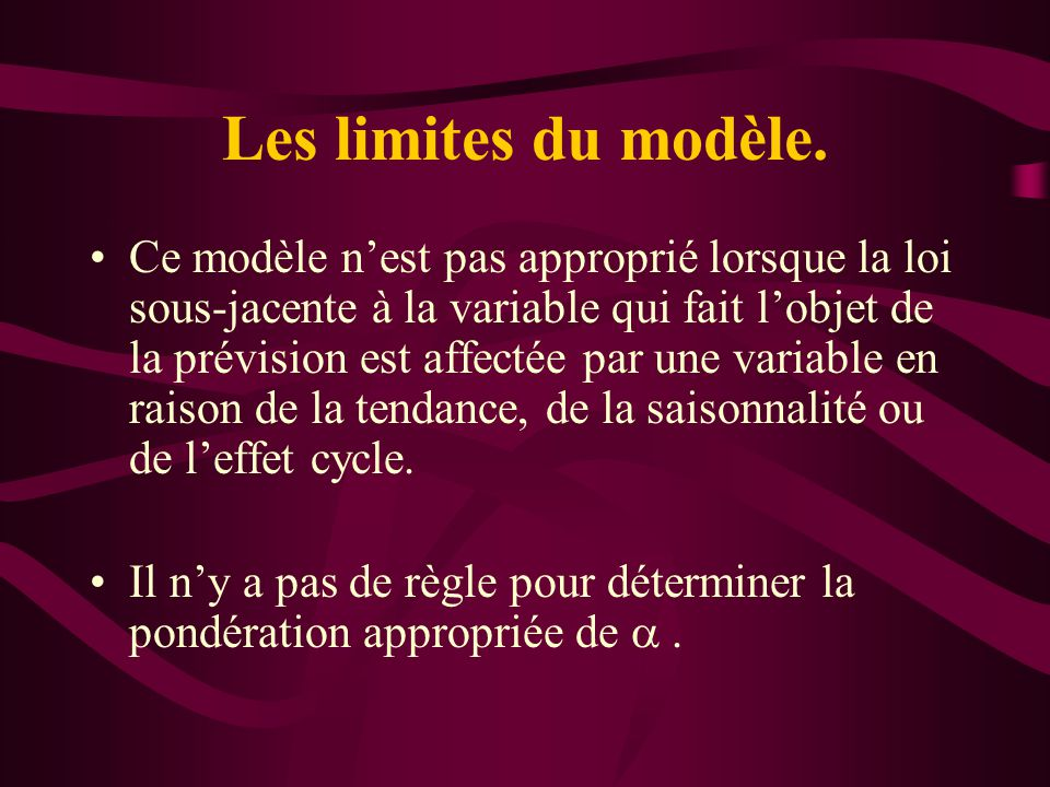 Les limites du modèle. Ce modèle nest pas approprié lorsque la loi sous-jacente à la variable qui fait lobjet de la prévision est affectée par une var