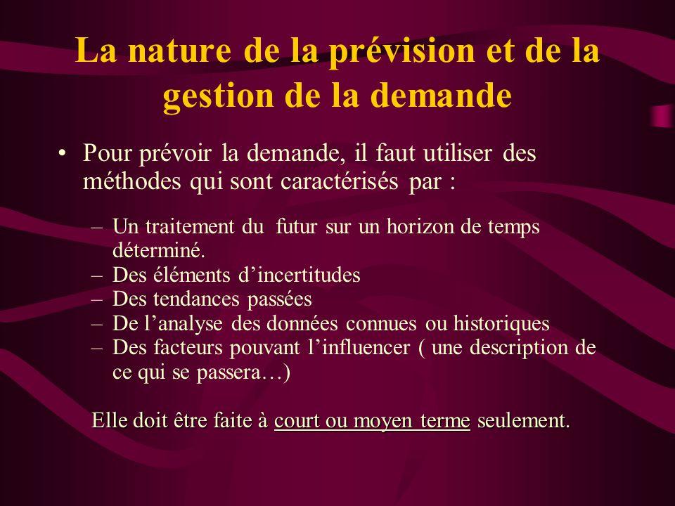 La nature de la prévision et de la gestion de la demande Pour prévoir la demande, il faut utiliser des méthodes qui sont caractérisés par : –Un traite