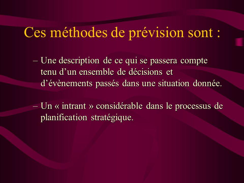 Ces méthodes de prévision sont : –Une description de ce qui se passera compte tenu dun ensemble de décisions et dévènements passés dans une situation