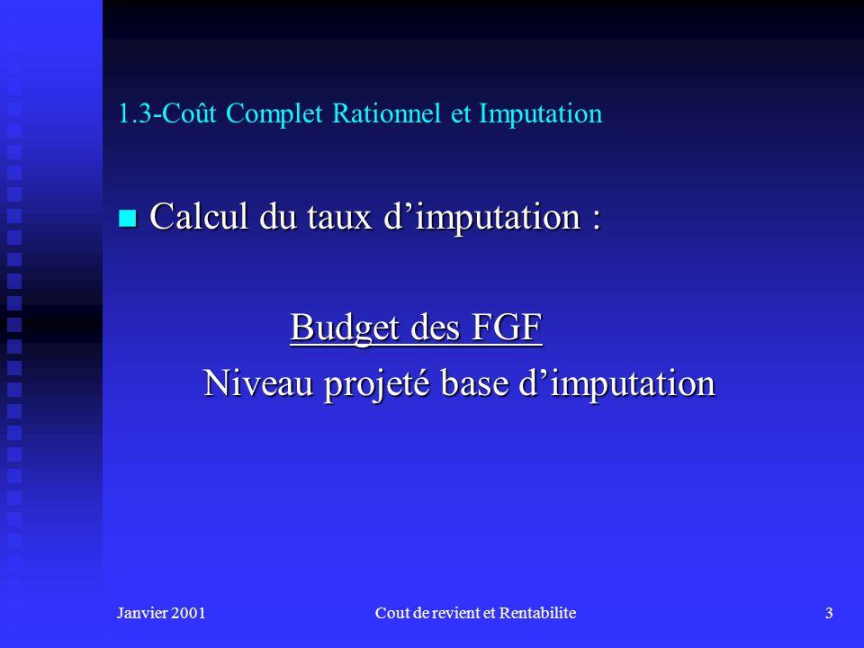 Janvier 2001Cout de revient et Rentabilite3 1.3-Coût Complet Rationnel et Imputation n Calcul du taux dimputation : Budget des FGF Niveau projeté base dimputation