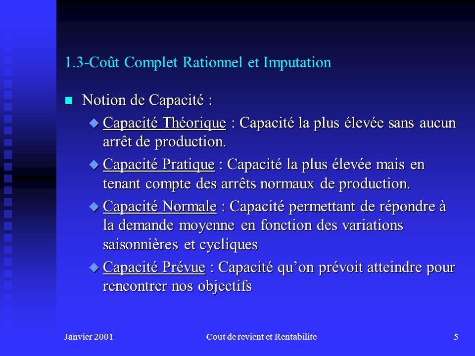 Janvier 2001Cout de revient et Rentabilite5 1.3-Coût Complet Rationnel et Imputation n Notion de Capacité : u Capacité Théorique : Capacité la plus élevée sans aucun arrêt de production.