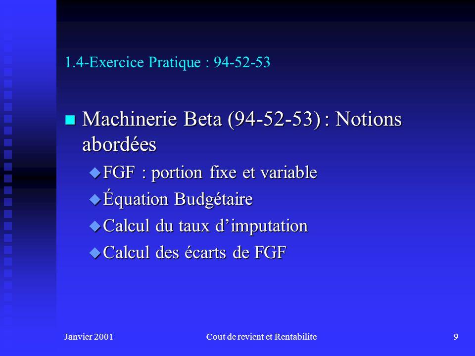 Janvier 2001Cout de revient et Rentabilite9 1.4-Exercice Pratique : 94-52-53 n Machinerie Beta (94-52-53) : Notions abordées u FGF : portion fixe et variable u Équation Budgétaire u Calcul du taux dimputation u Calcul des écarts de FGF
