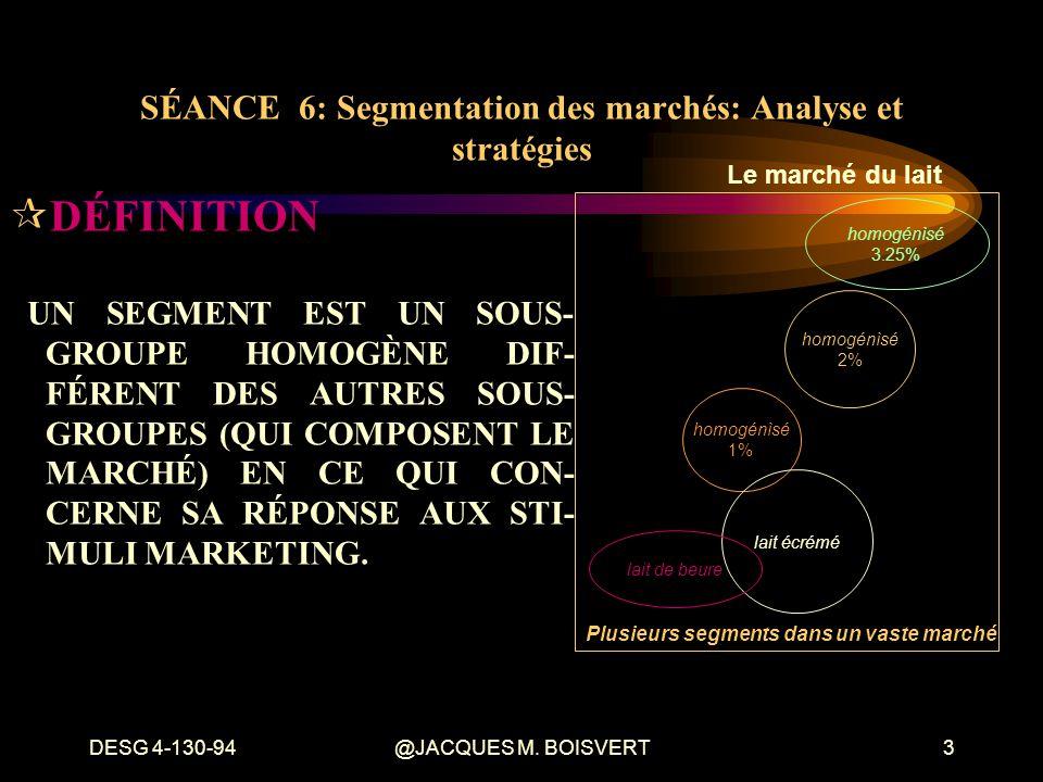 DESG 4-130-94@JACQUES M. BOISVERT3 ¶DÉFINITION UN SEGMENT EST UN SOUS- GROUPE HOMOGÈNE DIF- FÉRENT DES AUTRES SOUS- GROUPES (QUI COMPOSENT LE MARCHÉ)