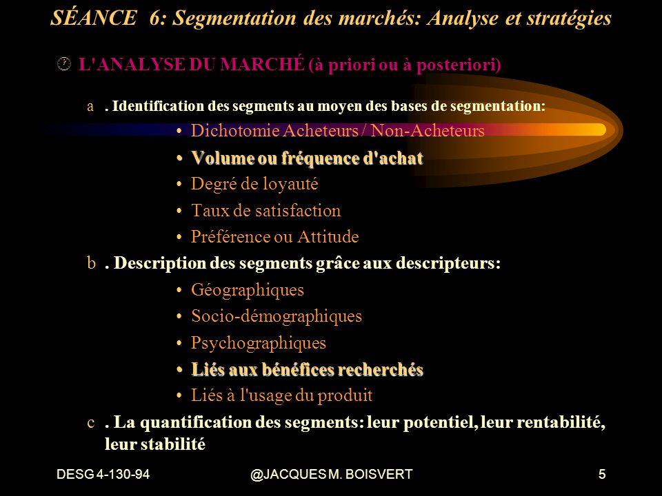 DESG 4-130-94@JACQUES M. BOISVERT5 ·L'ANALYSE DU MARCHÉ (à priori ou à posteriori) a. Identification des segments au moyen des bases de segmentation: