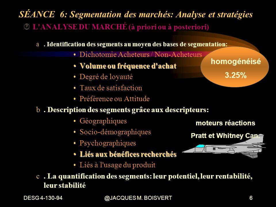 DESG 4-130-94@JACQUES M. BOISVERT6 ·L'ANALYSE DU MARCHÉ (à priori ou à posteriori) a. Identification des segments au moyen des bases de segmentation: