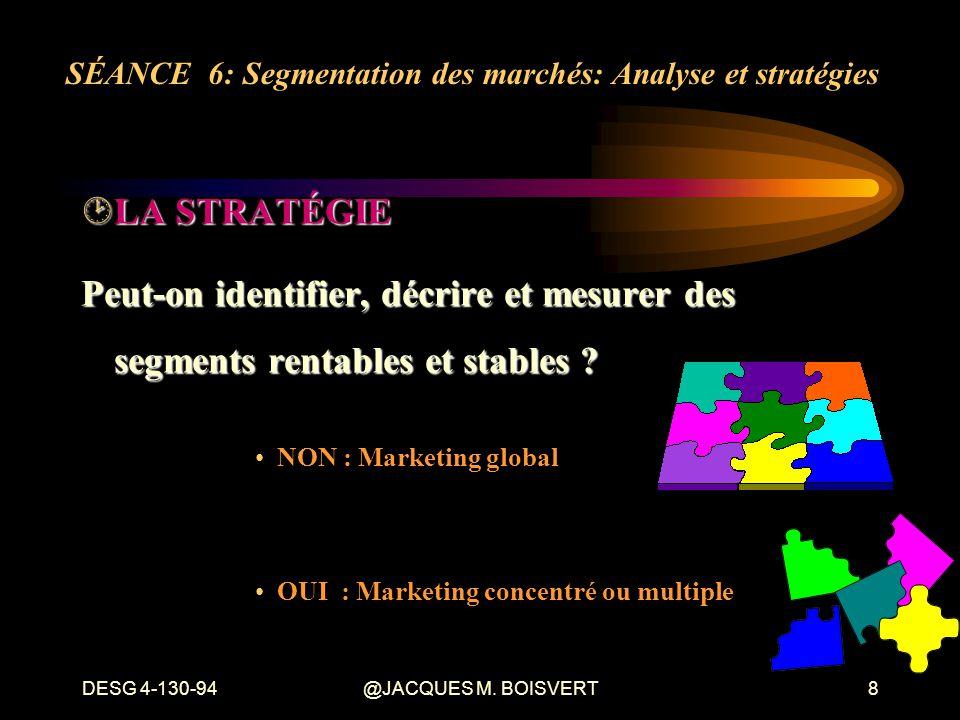 DESG 4-130-94@JACQUES M. BOISVERT8 ¸LA STRATÉGIE Peut-on identifier, décrire et mesurer des segments rentables et stables ? NON : Marketing global OUI