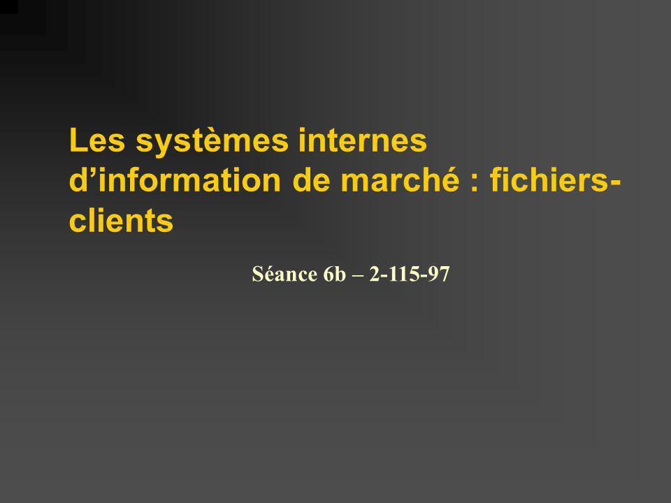 Les systèmes internes dinformation de marché : fichiers- clients Séance 6b – 2-115-97