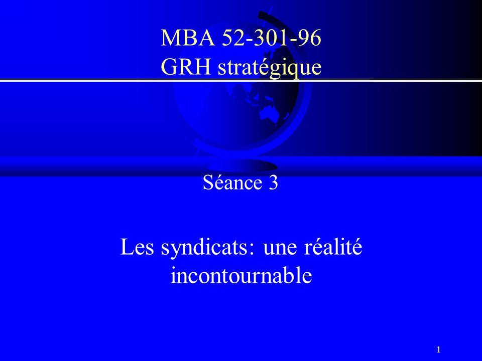 1 MBA 52-301-96 GRH stratégique Séance 3 Les syndicats: une réalité incontournable