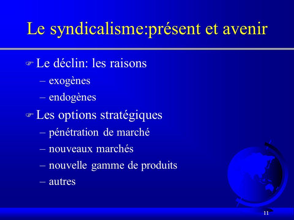 10 Evolution récente du syndicalisme Québécois F 3. Le pragmatisme (1989-1996) –obligation de sadapter à un contexte difficile «permanent» –importante