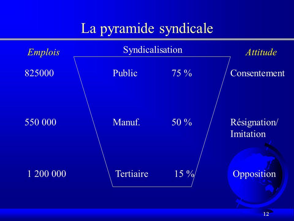 11 Le syndicalisme:présent et avenir F Le déclin: les raisons –exogènes –endogènes F Les options stratégiques –pénétration de marché –nouveaux marchés