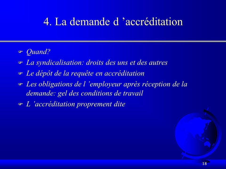17 3. Le monopole syndical F Le monopole de représentation –un seul syndicat est habilité à représenter un groupe de salariés F L unité d accréditatio