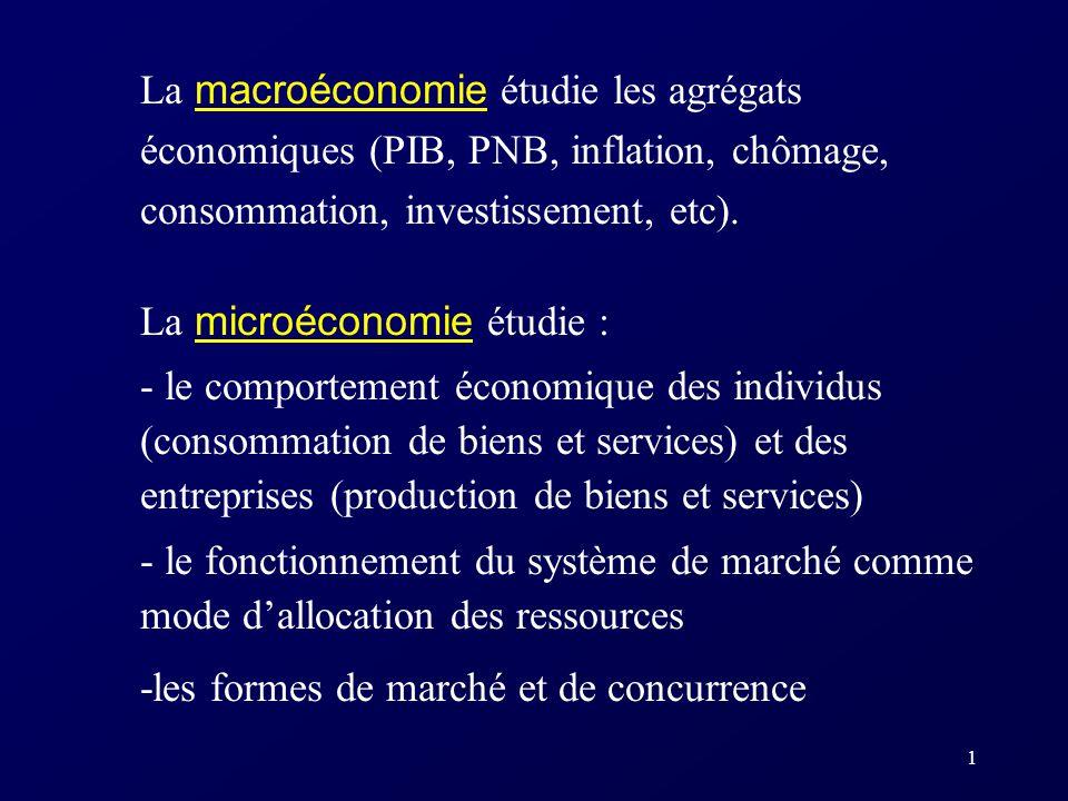 1 La macroéconomie étudie les agrégats économiques (PIB, PNB, inflation, chômage, consommation, investissement, etc). La microéconomie étudie : - le c
