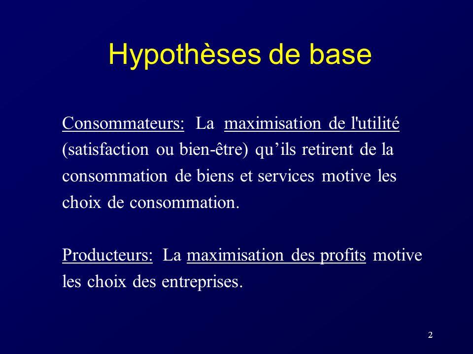 2 Hypothèses de base Consommateurs: La maximisation de l'utilité (satisfaction ou bien-être) quils retirent de la consommation de biens et services mo