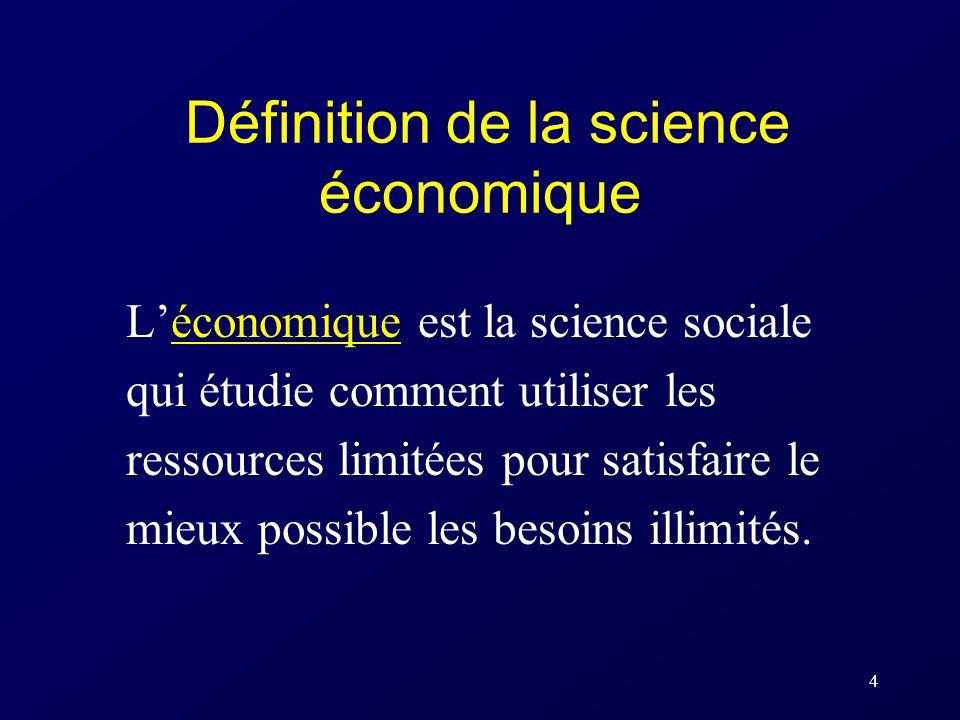 4 Définition de la science économique Léconomique est la science sociale qui étudie comment utiliser les ressources limitées pour satisfaire le mieux