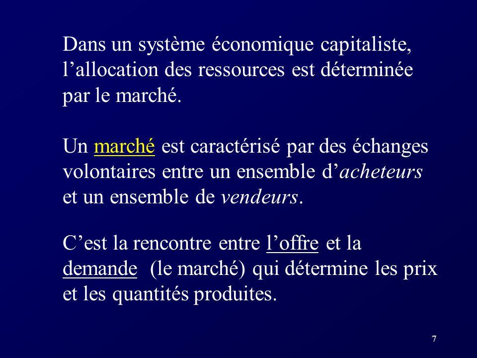7 Dans un système économique capitaliste, lallocation des ressources est déterminée par le marché. Un marché est caractérisé par des échanges volontai