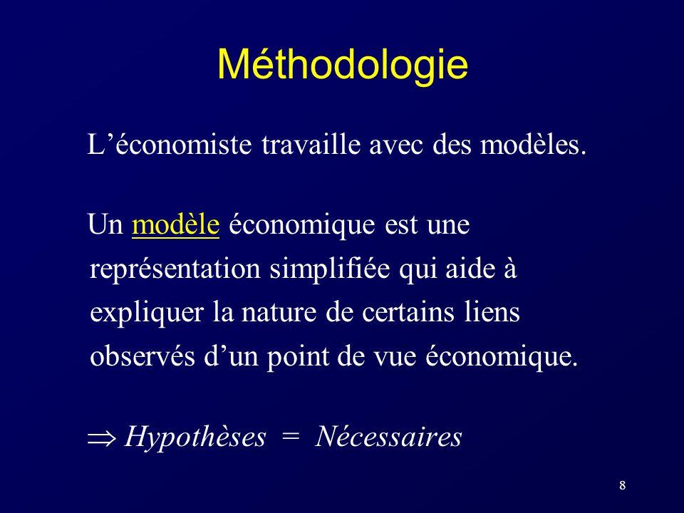 8 Méthodologie Léconomiste travaille avec des modèles. Un modèle économique est une représentation simplifiée qui aide à expliquer la nature de certai