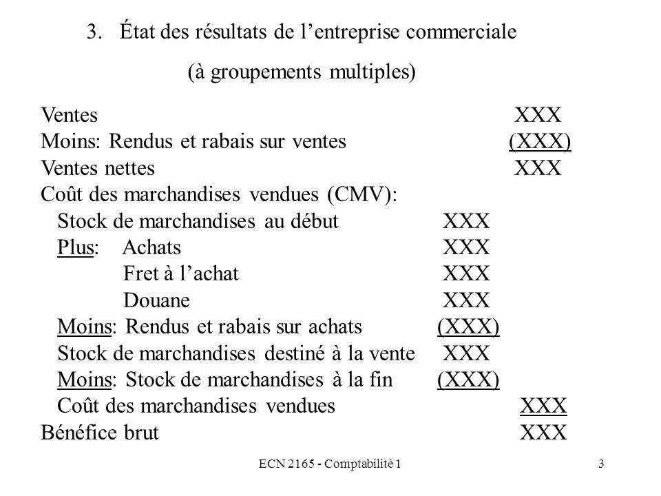 ECN 2165 - Comptabilité 13 Ventes XXX Moins: Rendus et rabais sur ventes (XXX) Ventes nettes XXX Coût des marchandises vendues (CMV): Stock de marchan
