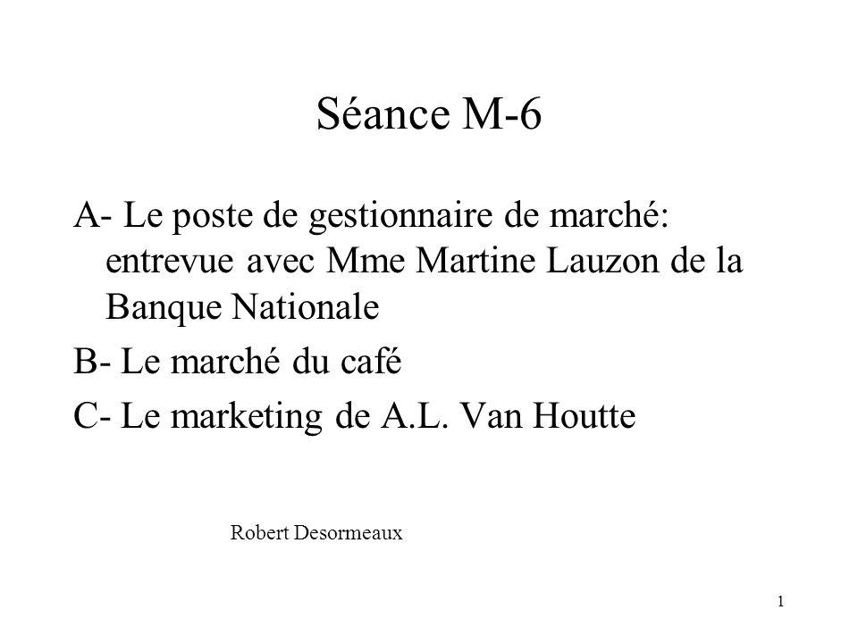 1 Séance M-6 A- Le poste de gestionnaire de marché: entrevue avec Mme Martine Lauzon de la Banque Nationale B- Le marché du café C- Le marketing de A.