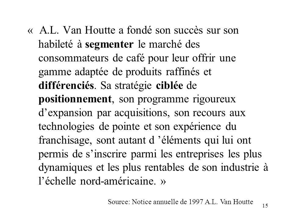 15 « A.L. Van Houtte a fondé son succès sur son habileté à segmenter le marché des consommateurs de café pour leur offrir une gamme adaptée de produit