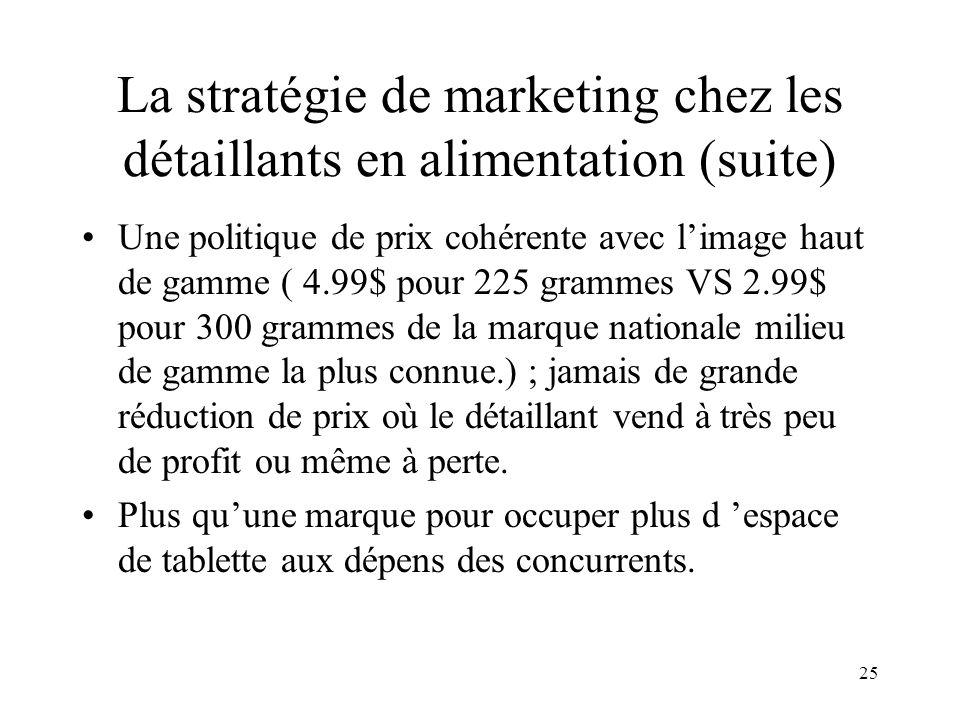 25 La stratégie de marketing chez les détaillants en alimentation (suite) Une politique de prix cohérente avec limage haut de gamme ( 4.99$ pour 225 g