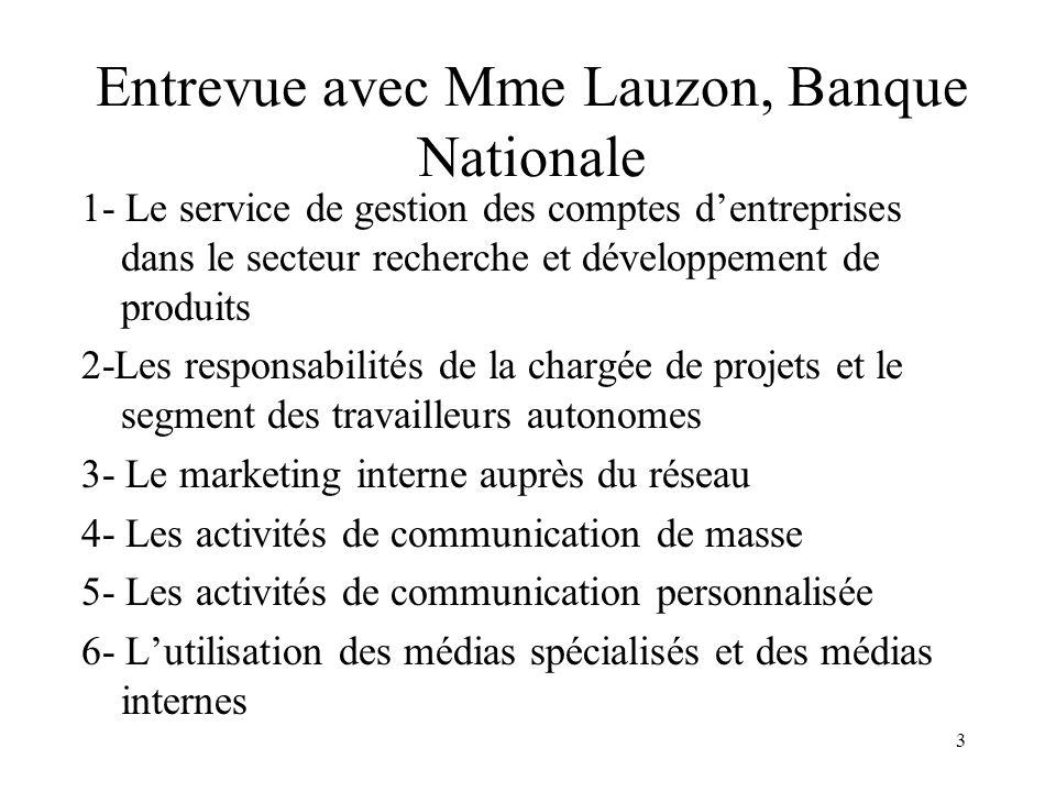 3 Entrevue avec Mme Lauzon, Banque Nationale 1- Le service de gestion des comptes dentreprises dans le secteur recherche et développement de produits