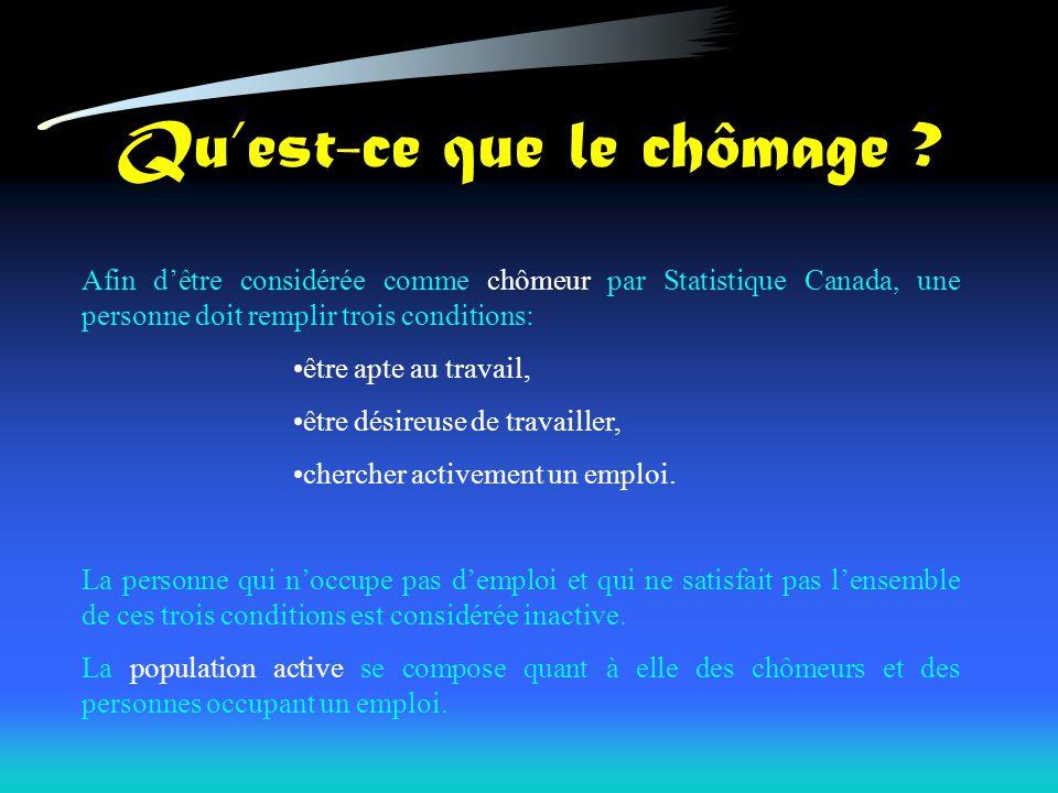 Quest-ce que le chômage ? Afin dêtre considérée comme chômeur par Statistique Canada, une personne doit remplir trois conditions: être apte au travail