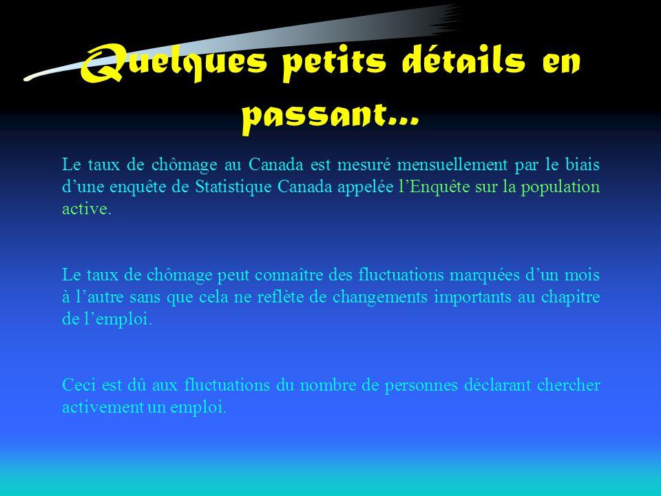 Quelques petits détails en passant... Le taux de chômage au Canada est mesuré mensuellement par le biais dune enquête de Statistique Canada appelée lE