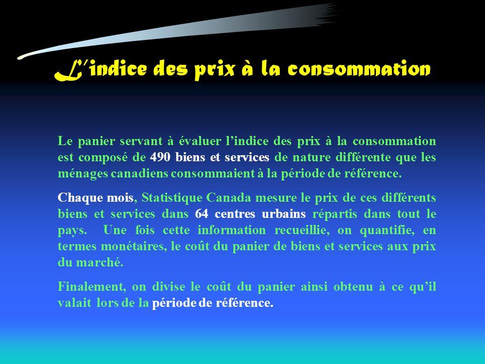 Lindice des prix à la consommation Le panier servant à évaluer lindice des prix à la consommation est composé de 490 biens et services de nature diffé