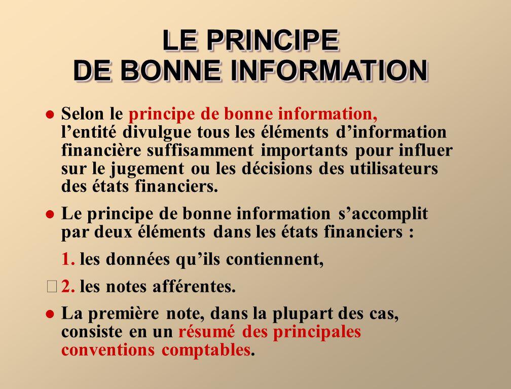LE PRINCIPE DE BONNE INFORMATION Selon le principe de bonne information, lentité divulgue tous les éléments dinformation financière suffisamment impor