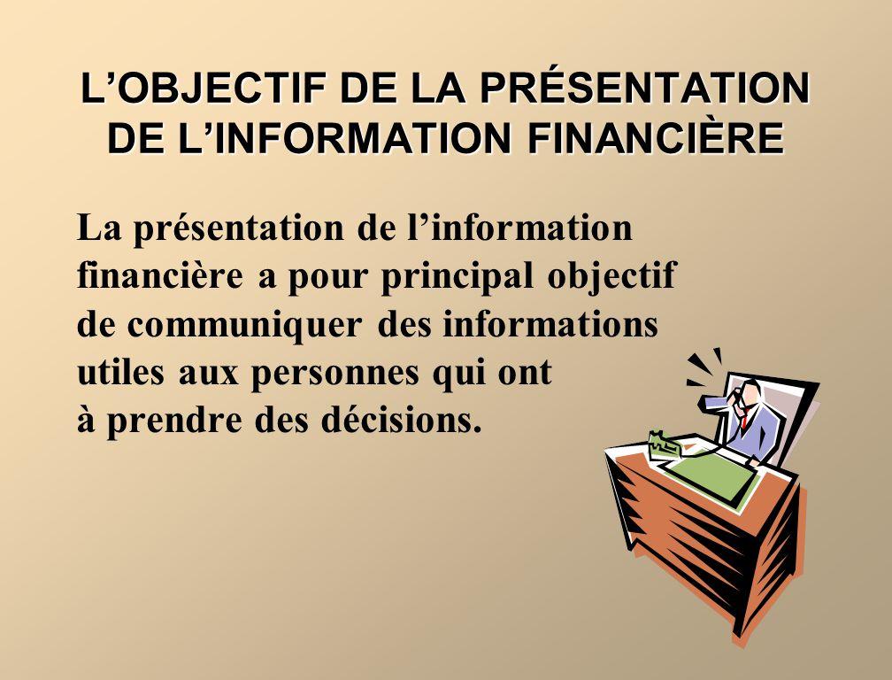 LOBJECTIF DE LA PRÉSENTATION DE LINFORMATION FINANCIÈRE La présentation de linformation financière a pour principal objectif de communiquer des inform