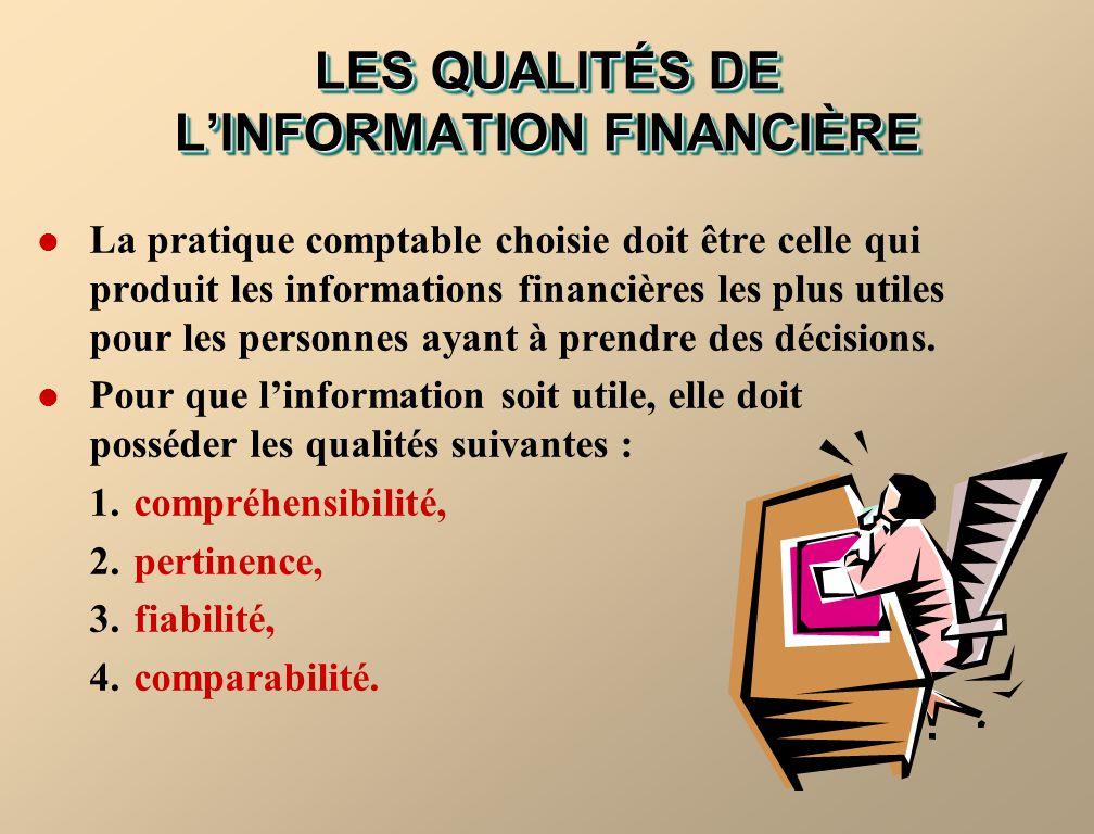 LES QUALITÉS DE LINFORMATION FINANCIÈRE La pratique comptable choisie doit être celle qui produit les informations financières les plus utiles pour le