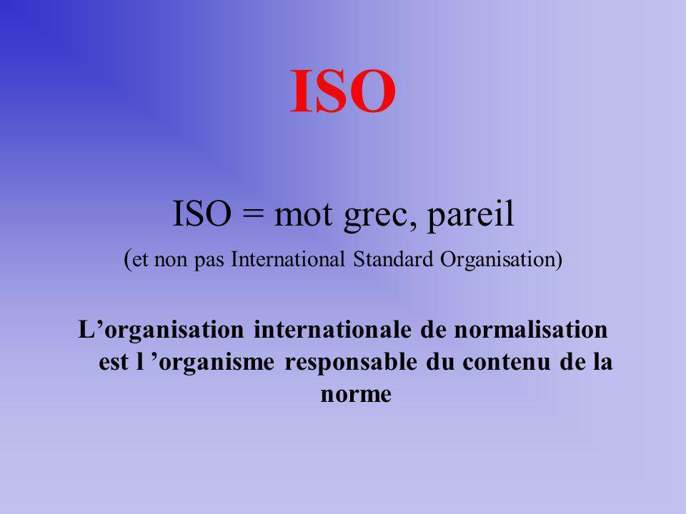 ISO ISO = mot grec, pareil ( et non pas International Standard Organisation) Lorganisation internationale de normalisation est l organisme responsable du contenu de la norme