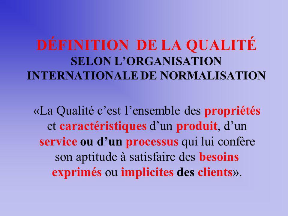 DÉFINITION DE LA QUALITÉ SELON LORGANISATION INTERNATIONALE DE NORMALISATION «La Qualité cest lensemble des propriétés et caractéristiques dun produit