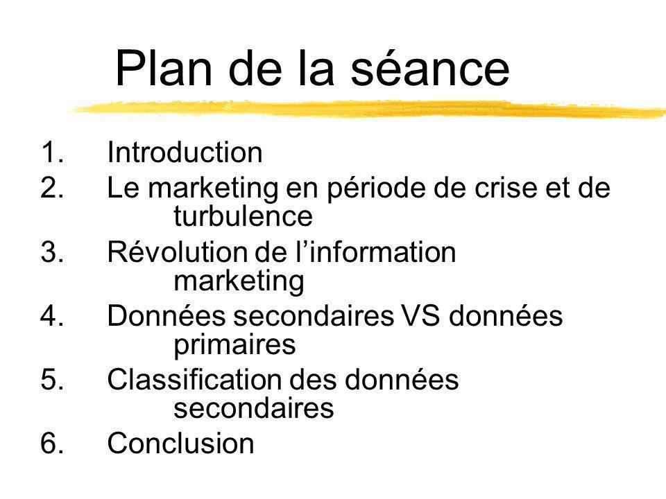 Plan de la séance 1.Introduction 2.Le marketing en période de crise et de turbulence 3.Révolution de linformation marketing 4.Données secondaires VS d