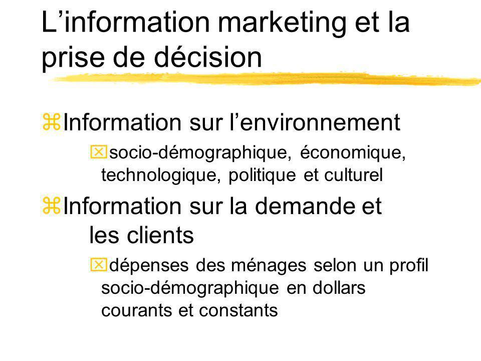 Linformation marketing et la prise de décision zInformation sur lenvironnement xsocio-démographique, économique, technologique, politique et culturel