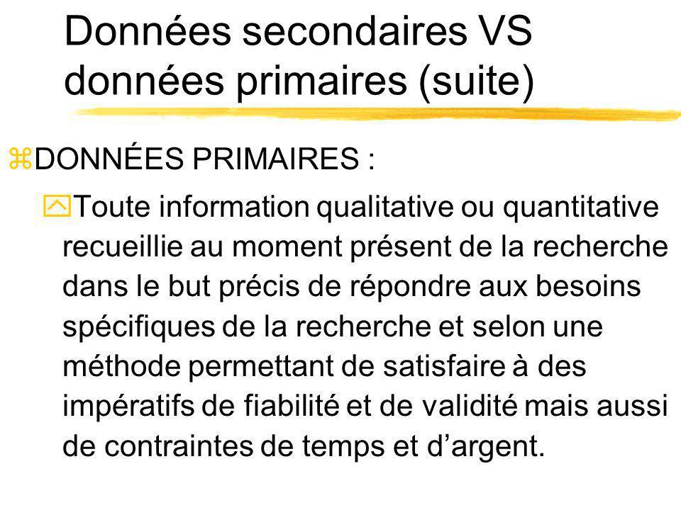 Données secondaires VS données primaires (suite) zDONNÉES PRIMAIRES : yToute information qualitative ou quantitative recueillie au moment présent de l