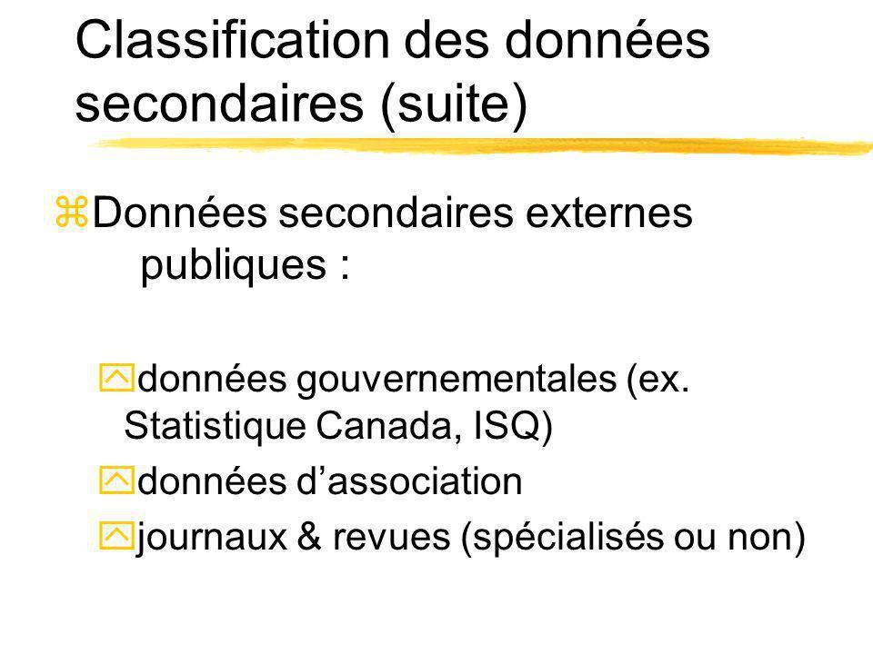 Classification des données secondaires (suite) zDonnées secondaires externes publiques : ydonnées gouvernementales (ex. Statistique Canada, ISQ) ydonn