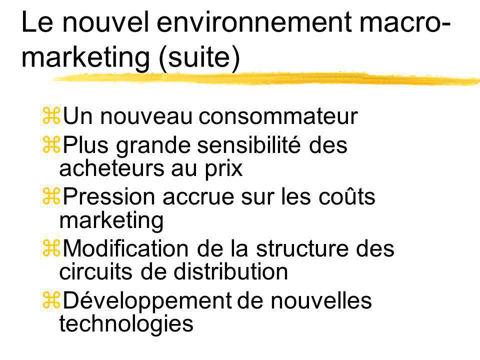 Le nouvel environnement macro- marketing (suite) zUn nouveau consommateur zPlus grande sensibilité des acheteurs au prix zPression accrue sur les coût