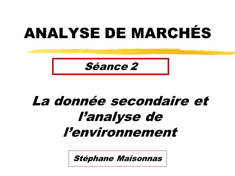 ANALYSE DE MARCHÉS La donnée secondaire et lanalyse de lenvironnement Séance 2 Stéphane Maisonnas