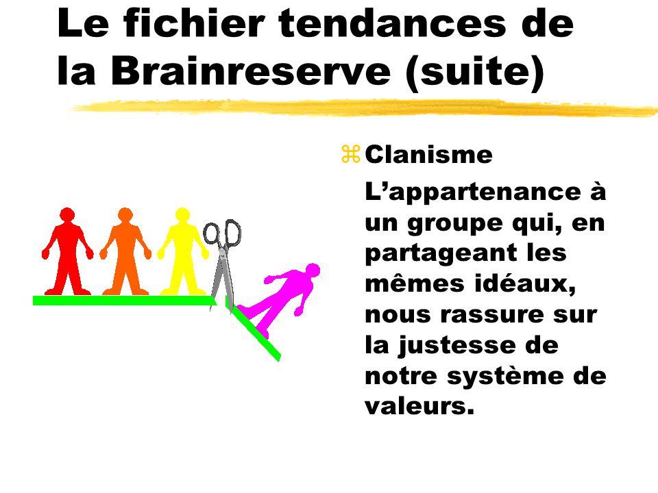 Le fichier tendances de la Brainreserve (suite) zClanisme Lappartenance à un groupe qui, en partageant les mêmes idéaux, nous rassure sur la justesse de notre système de valeurs.