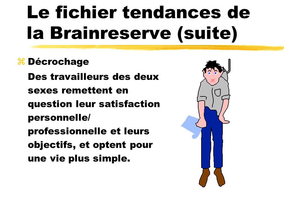 Le fichier tendances de la Brainreserve (suite) zDécrochage Des travailleurs des deux sexes remettent en question leur satisfaction personnelle/ professionnelle et leurs objectifs, et optent pour une vie plus simple.